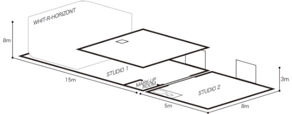 スタジオ見取図:1階スタジオ2階ミーティングルーム